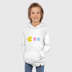 Толстовка детская хлопковая Pac-Man: Fast Eat цвета белый — фото 2