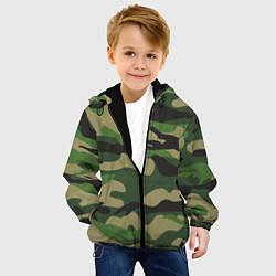 Куртка с капюшоном детская Камуфляж: хаки/зеленый цвета 3D-черный — фото 2