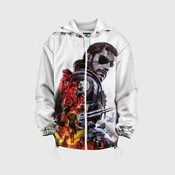 Куртка с капюшоном детская Metal gear solid 2 цвета 3D-белый — фото 1