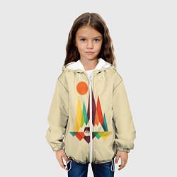 Детская 3D-куртка с капюшоном с принтом Медведь в горах, цвет: 3D-белый, артикул: 10113449005458 — фото 2