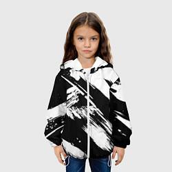 Детская 3D-куртка с капюшоном с принтом Чёрно-белый, цвет: 3D-белый, артикул: 10128914605458 — фото 2