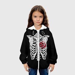 Куртка с капюшоном детская Кукрыниксы: Скелет цвета 3D-белый — фото 2