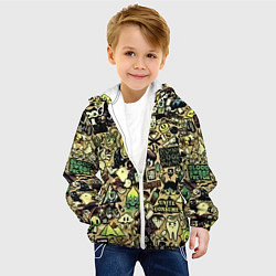 Детская 3D-куртка с капюшоном с принтом Стикер бомбинг, цвет: 3D-белый, артикул: 10138052305458 — фото 2