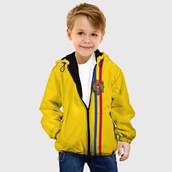 Куртка с капюшоном детская Молдавия: лента с гербом цвета 3D-черный — фото 2