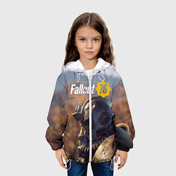 Детская 3D-куртка с капюшоном с принтом Fallout 76, цвет: 3D-белый, артикул: 10154596505458 — фото 2