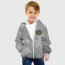 Детская 3D-куртка с капюшоном с принтом Stone Island: Grey Colors, цвет: 3D-белый, артикул: 10166585505458 — фото 2
