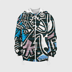 Детская 3D-куртка с капюшоном с принтом Graffiti Art, цвет: 3D-белый, артикул: 10173635705458 — фото 1