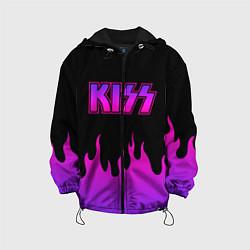 Детская 3D-куртка с капюшоном с принтом KISS, цвет: 3D-черный, артикул: 10204548505458 — фото 1