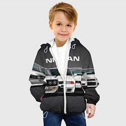 Детская 3D-куртка с капюшоном с принтом NISSAN, цвет: 3D-белый, артикул: 10208567305458 — фото 2