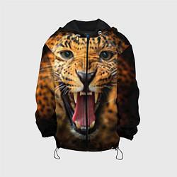 Куртка с капюшоном детская Рык леопарда цвета 3D-черный — фото 1