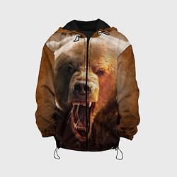 Детская 3D-куртка с капюшоном с принтом Рык медведя, цвет: 3D-черный, артикул: 10065044305458 — фото 1
