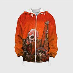 Куртка с капюшоном детская Скелет с гитарой цвета 3D-белый — фото 1