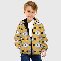Детская 3D-куртка с капюшоном с принтом Очки миньонов, цвет: 3D-черный, артикул: 10073297905458 — фото 2