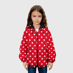 Детская 3D-куртка с капюшоном с принтом Горошек белый, цвет: 3D-черный, артикул: 10078491805458 — фото 2
