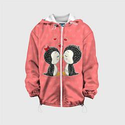 Детская 3D-куртка с капюшоном с принтом Влюбленные пингвины, цвет: 3D-белый, артикул: 10081995505458 — фото 1