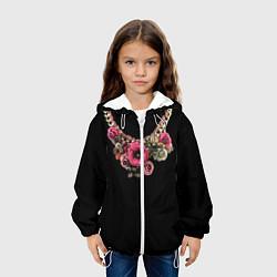 Куртка с капюшоном детская Золото и цветы цвета 3D-белый — фото 2