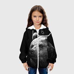 Детская 3D-куртка с капюшоном с принтом Черно-белый медведь, цвет: 3D-белый, артикул: 10083974305458 — фото 2