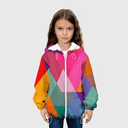 Куртка с капюшоном детская Разноцветные полигоны цвета 3D-белый — фото 2