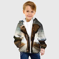 Куртка с капюшоном детская Дикий слон цвета 3D-белый — фото 2