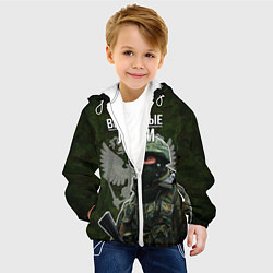 Куртка с капюшоном детская Вежливые люди РФ цвета 3D-белый — фото 2