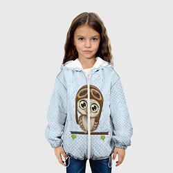 Детская 3D-куртка с капюшоном с принтом Сова пилот, цвет: 3D-белый, артикул: 10086920905458 — фото 2