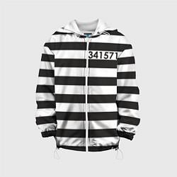 Детская 3D-куртка с капюшоном с принтом Заключенный, цвет: 3D-белый, артикул: 10093281805458 — фото 1