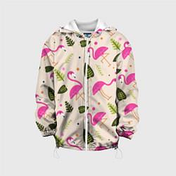 Детская 3D-куртка с капюшоном с принтом Нежный фламинго, цвет: 3D-белый, артикул: 10094235205458 — фото 1