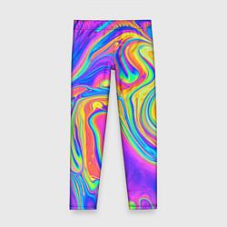 Леггинсы для девочки Цветные разводы цвета 3D — фото 1