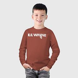 Лонгслив хлопковый детский Lil Wayne цвета кирпичный — фото 2