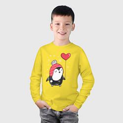 Лонгслив хлопковый детский Пингвин с шариком цвета желтый — фото 2
