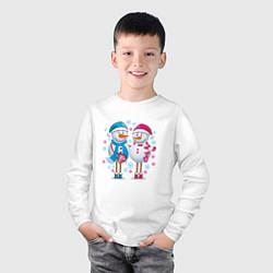 Лонгслив хлопковый детский Влюбленные снеговики цвета белый — фото 2