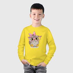 Лонгслив хлопковый детский Совушка цвета желтый — фото 2