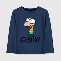 Лонгслив хлопковый детский Moby цвета тёмно-синий — фото 1