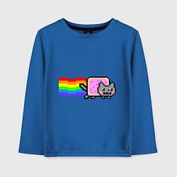 Лонгслив хлопковый детский Nyan Cat цвета синий — фото 1