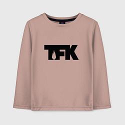 Лонгслив хлопковый детский TFK: Black Logo цвета пыльно-розовый — фото 1