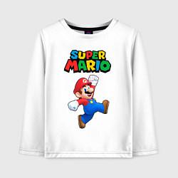 Лонгслив хлопковый детский Super Mario цвета белый — фото 1