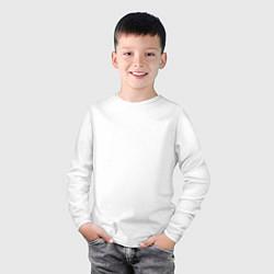 Лонгслив хлопковый детский Без дизайна цвета белый — фото 2