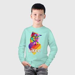 Лонгслив хлопковый детский Likee LIKE Video цвета мятный — фото 2