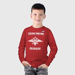 Лонгслив хлопковый детский Полиция цвета красный — фото 2