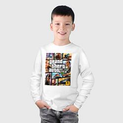 Лонгслив хлопковый детский GTA5 цвета белый — фото 2