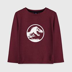 Лонгслив хлопковый детский Jurassic World цвета меланж-бордовый — фото 1