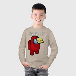 Лонгслив хлопковый детский AMONG US цвета миндальный — фото 2