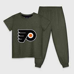 Пижама хлопковая детская Philadelphia Flyers цвета меланж-хаки — фото 1