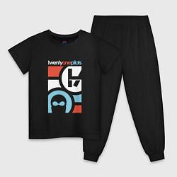 Пижама хлопковая детская Twenty One Pilots цвета черный — фото 1