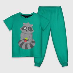 Пижама хлопковая детская Енотик с клубникой цвета зеленый — фото 1
