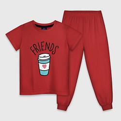Пижама хлопковая детская Best friends цвета красный — фото 1