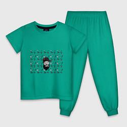 Пижама хлопковая детская Барбер Борода цвета зеленый — фото 1