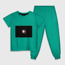 Пижама хлопковая детская Цветной астронавт цвета зеленый — фото 1