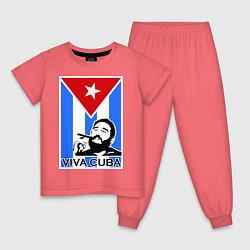 Пижама хлопковая детская Fidel: Viva, Cuba! цвета коралловый — фото 1