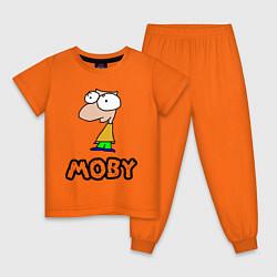 Пижама хлопковая детская Moby цвета оранжевый — фото 1